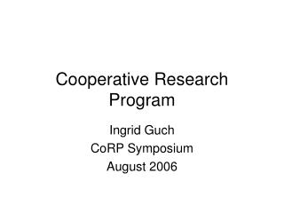 Cooperative Research Program