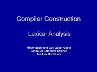 Compiler Construction  Lexical Analysis