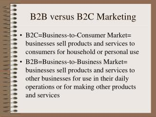 B2B versus B2C Marketing