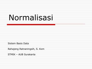 Sistem Basis Data Rahajeng Ratnaningsih, S. Kom STMIK – AUB Surakarta