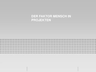 Der Faktor Mensch in Projekten