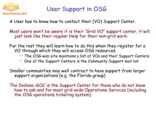 User Support in OSG