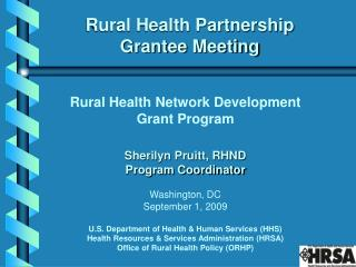 Rural Health Partnership  Grantee Meeting