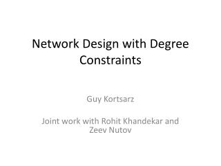 Network Design with Degree Constraints