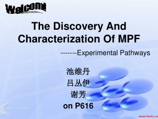 The Discovery And Characterization Of MPF -------Experimental Pathways