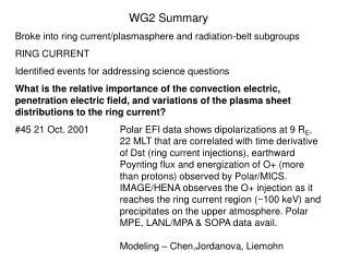 WG2 Summary Broke into ring current/plasmasphere and radiation-belt subgroups RING CURRENT