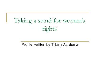 Taking a stand for women's rights