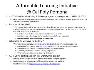 Affordable Learning Initiative  @ Cal Poly Pomona