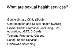 What are sexual health services?