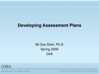 Developing Assessment Plans