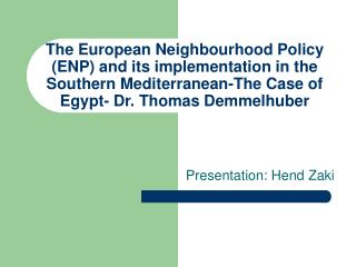 Presentation: Hend Zaki