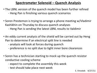 Spectrometer Solenoid – Quench Analysis
