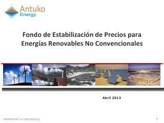 Fondo de Estabilización de Precios para  Energías Renovables No Convencionales