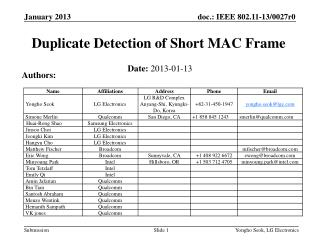Duplicate Detection of Short MAC Frame
