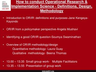 How to conduct Operational Research & Implementation Science - Definitions, Design, Methodology