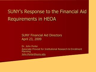 SUNY's Response to the Financial Aid Requirements in HEOA