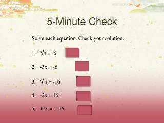 Transforming Equations