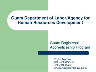 Guam Department of Labor/Agency for Human Resources Development