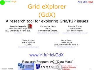 Grid eXplorer (GdX) A research tool for exploring Grid/P2P issues