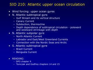 SIO 210: Atlantic upper ocean circulation