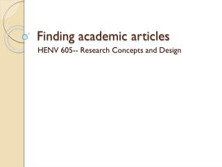 Finding academic articles