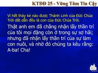 KTĐĐ 25 - Vững Tâm Tin Cậy