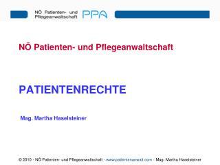 NÖ Patienten- und Pflegeanwaltschaft PATIENTENRECHTE