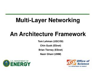 Multi-Layer Networking An Architecture Framework