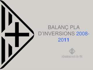 BALANÇ PLA D'INVERSIONS  2008-20 11