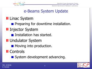 e-Beams System Update