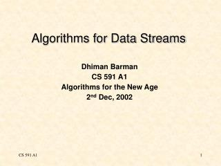 Algorithms for Data Streams