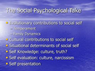 The Social Psychological Take
