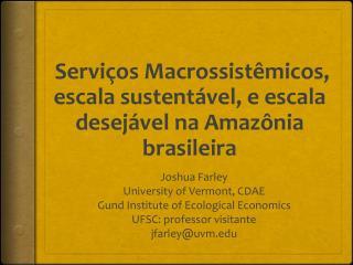 Serviços Macrossistêmicos, escala sustentável, e escala desejável na Amazônia brasileira