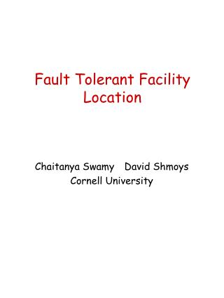 Fault Tolerant Facility Location