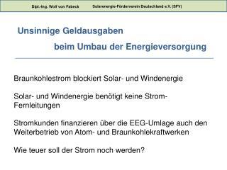 Braunkohlestrom blockiert Solar- und Windenergie