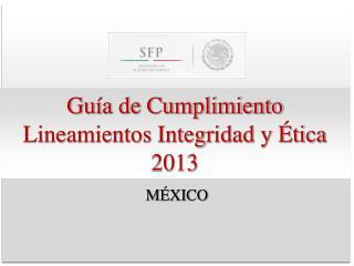 Guía de Cumplimiento Lineamientos Integridad y Ética 2013