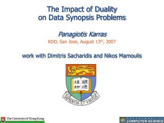 The Impact of Duality on Data Synopsis Problems