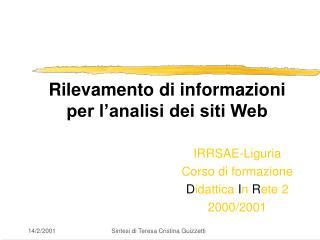Rilevamento di informazioni  per l'analisi dei siti Web