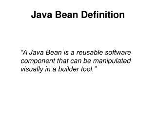 Java Bean Definition