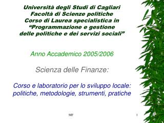 Anno Accademico 2005/2006 Scienza delle Finanze: Corso e laboratorio per lo sviluppo locale: