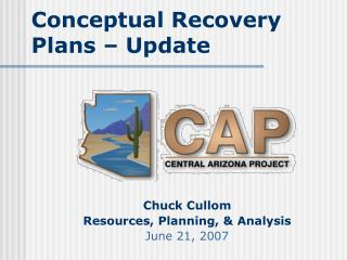 Conceptual Recovery Plans – Update