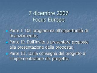 7 dicembre 2007 Focus Europe
