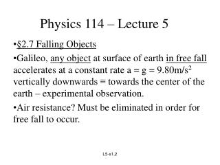 Physics 114 – Lecture 5