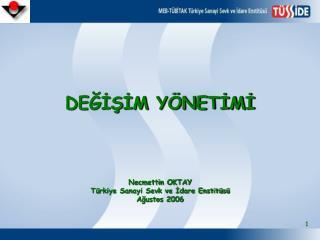 DEĞİŞİM YÖNETİMİ Necmettin OKTAY Türkiye Sanayi Sevk ve İdare Enstitüsü Ağustos 2006