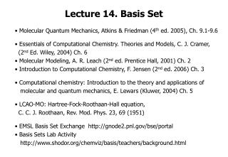 Lecture 14. Basis Set