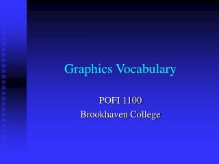 Graphics Vocabulary