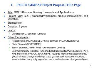 FY10-11 GIMPAP Project Proposal Title Page