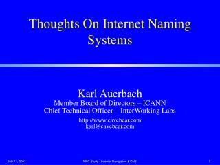 Thoughts On Internet Naming Systems