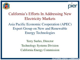Terry Surles, Director Technology Systems Division California Energy Commission