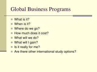 Global Business Programs